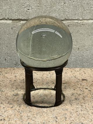 "Vintage 5.  00"" Crystal Ball On Brass Painted Stand"