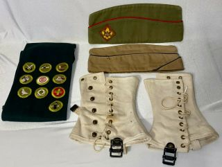 Vintage Boy Scouts Bsa Misc Items Sash W/patches,  Hats,  Leggings