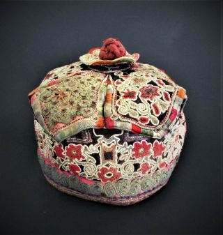 Fine Antique Chinese 19th Century Qing Dynasty Silk Embroidery Hat