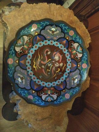 Antique Chinese Cloisonne Dragon Fine Gold Infused Charger /platter.