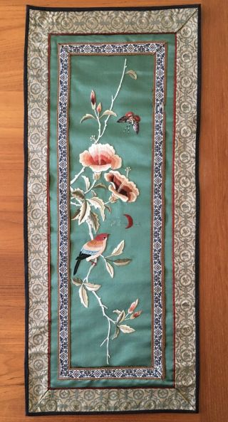 Antique Chinese Silk Embroidery Wall Hanging Tapestry Panel Teal Background