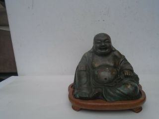 Lovely Chinese Antique Bronze Laughing Buddha Statue With Display Stand