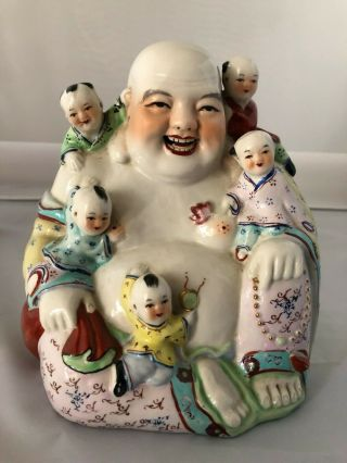 "Chinese Antique Porcelain Laughing Buddha Md009 7"" H"