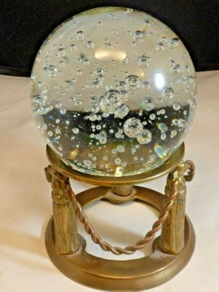 Crystal Ball On Stand Brass Base Suspended Bubble