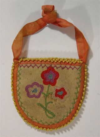 Ca1900 Native American Metis / Cree Indian Embroidery Decorated Hide Pouch / Bag
