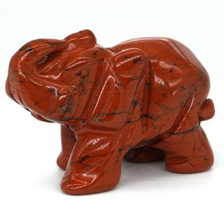 "2 "" Red Jasper Elephant Statue Natural Gemstone Healing Crystal Animals Figurines"