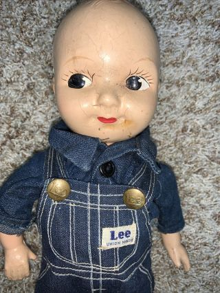 Vtg Buddy Lee Advertising Doll W/ Union Made Denim Overalls Jeans Compo Tlc