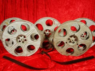 5 Vintage 35mm 2000 Ft.  14.  5 Inch Metal Movie Theater Film Reels Made In Usa
