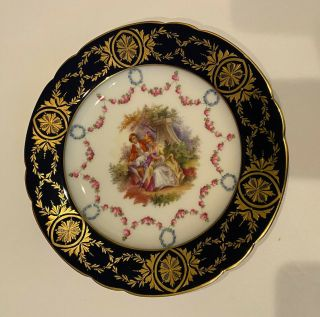 """Antique Dresden Hand Painted Plate Courting Couple Carl Thieme Signed 9.  5"""""""