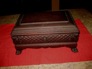 Fabulous Antique Claw Footed Carved Wood Wooden Dresser Letter Box / With Key