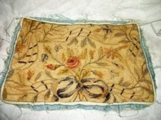 19th C.  French Aubusson Needlepoint Tapestry Wool Fragment Roses Bow Silk
