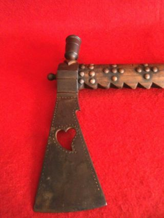 Vintage Large Tomahawk Pipe With Long Beaded Drop