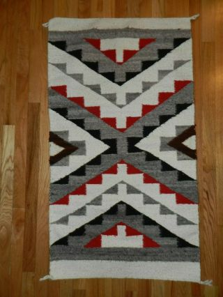 , Rug,  Navajo Handwoven,  Red,  Grey,  Black,  26 In X 14 In,  Crownpoint
