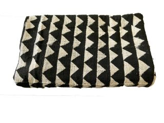 "Superbblack & White African Bogolan Mud Cloth Textile 42 "" By 67 """