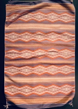 Exceptional Navajo Burntwater Child Blanket / Rug,  Revival Period,  Mid 20th C,  Nr