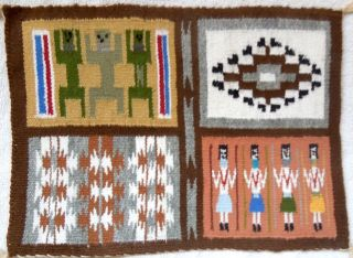 Navajo Small Rug Four - In - One 11.  75 X 8.  5 Inch Weaving 4 - In - 1