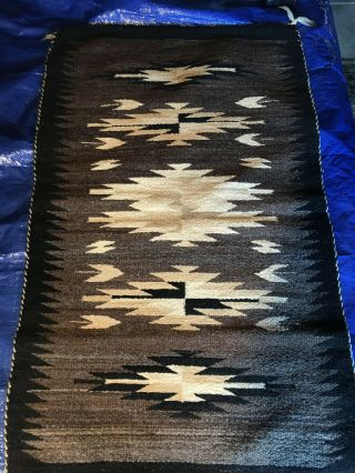 "25 "" X 41 "" Hand - Spun Wool Navajo Rug In Brown,  Cream,  Black,  And Beige."