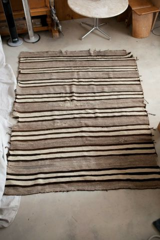 Navajo Brown Gray Banded Chinle Transitional Blanket Rug 1880s