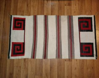 Navajo Indian Red,  Black & Natural Color Wool Rug Great Designs