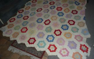 Vintage 1940 Quilt Grandmas Flower Garden Needs A Little Tlc