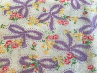 Vintage Print Feed Flour Sack Fabric Purple Ribbons Pink Roses Full Opened Sack