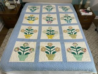 Vtg Handmade Quilt Coverlet Bedspread Flower Pot Applique Blue 58  X 76