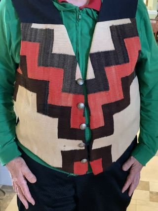 Native American Vest.  Navajo Weaving; Hester Of Santa Fe.  Buffalo Nickle Buttons.