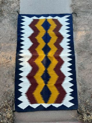 "Stunning Large Navajo Rug Native American Weaving 48.  5 "" X 29 "" White Red Yellow"