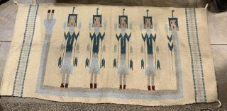 Native American Indian Hand Woven Wool Rug Navajo Ceremonial Yei 30 X 60