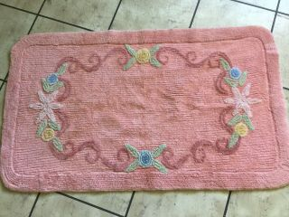 Vintage Chenille Bath Mat Rug & Toilet Seat Cover Salmon Pink With Flowers
