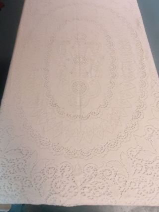 "Vtg Quaker Lace Tablecloth 65 "" By 78 "" Rectangle Creamy Ivory Color"