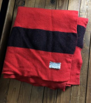 Vintage Polar Nite Golden Dawn Red Black Stripe 100 Virgin Wool Blanket 64x80