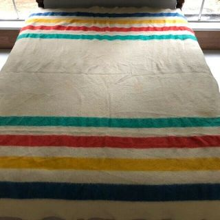 "Vintage No Label Wool Striped Blanket,  For Its Vintage; 84 "" X 75 """