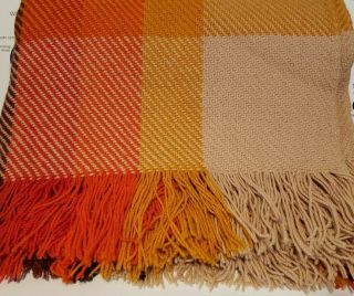 "Vtg Pendleton Multi Colors Plaid Throw Blanket Virgin Wool 54 "" X67 "" Fringe Usa"