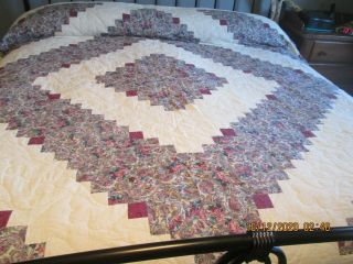 "Vintage Quilt 94 X 107 "" Purple On Cream Hand Made & Quilted (7 - 12 - 10 - 20)"
