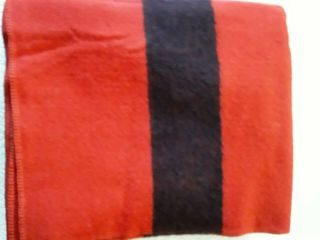 Vintage Polar Star A Golden Dawn 100 Wool Blanket Red W Black Stripes 76 X 88 ""