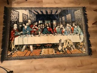 Vintage Leonardo Da Vinci Last Supper Plush Tapestry Rug Wall Hanging 4'x 6.  5'