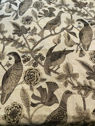 "Vtg Lee Behren Silks Katmandu Linen Brown Beige Birds Floral Fabric 79 "" X 54 """