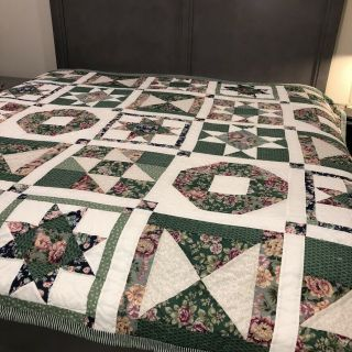"Vintage Patchwork Quilt 8 Star Full/queen Bedspread 84 "" Sq Hand Sewn Green Rose"