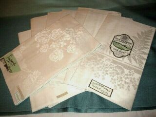 "Vtg Set 8 Double Damask Ecru Irish Linen Dinner Napkins 22 "" X 22 "",  2 Designs Nos"