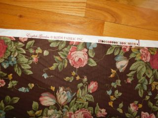 English Garden Roth Fabric Bark Cloth Vintage 8.  3 Yards Brown W/ Pink Roses