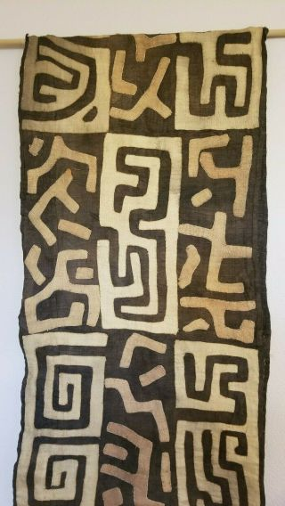 "Vintage Authentic African Kuba Cloth Textile Panel - 140 "" Long"