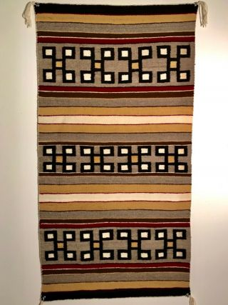 Navajo Rug W Spider Woman Cross Bands,  Mid 20th C,  Nr