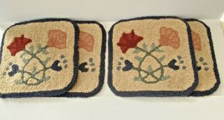 "Vintage Chair Pads Floral Hook Rug Seat 12 "" X 12 "" Navy Blue Red Peach Green"