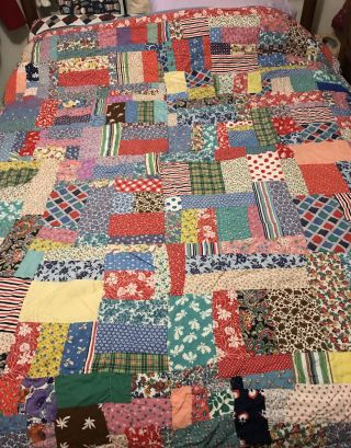 Vintage Handmade Square Patch Quilt Full/queen Bright Colors