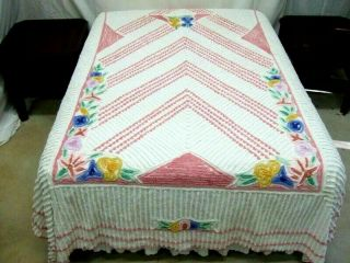 Vintage Thick,  Plush,  Dusty Rose & White Chenille Bedspread