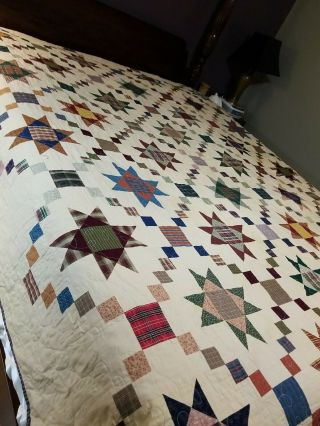 Vintage Machine Pieced 100 Cotton Star Quilt 78x95 Evc Reversible