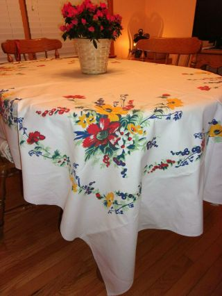 "Vintage Wilendur Cloth Tablecloth Hand Printed Floral Pattern 62 "" X 82 "" Daisies"