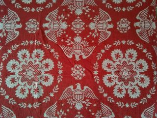 Vintage Loom Woven Bedspread Blanket W/ Fringe Red White Eagle W/ Shield Queen