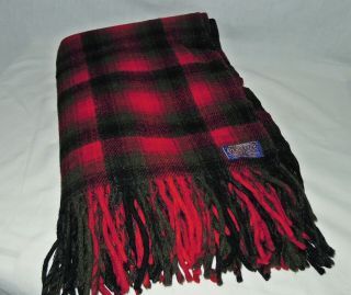 Vtg 60s Pendleton Red Black Gray Plaid Wool Fringed Lap Blanket,  66x50